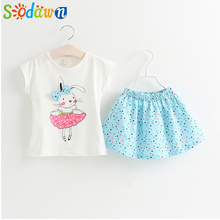 Sodawn Grils Clothing Sets Brand Summer Style Girls Clothes Cartoon Girls Clothing Set Short Sleeve T-Shirt+Dress Kids Clothing(China)