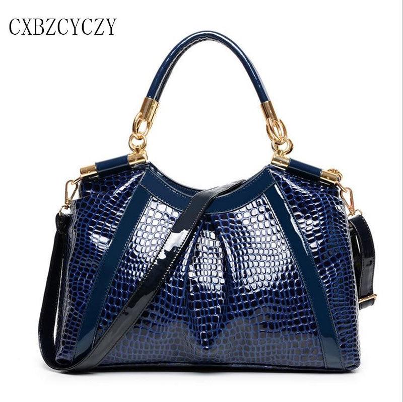 Luxury Drand Women Crossbody Female Bags Patent Leather Stone pattern Handbag Shoulder Bag Women Messenger Bags Bolsa Feminina<br>