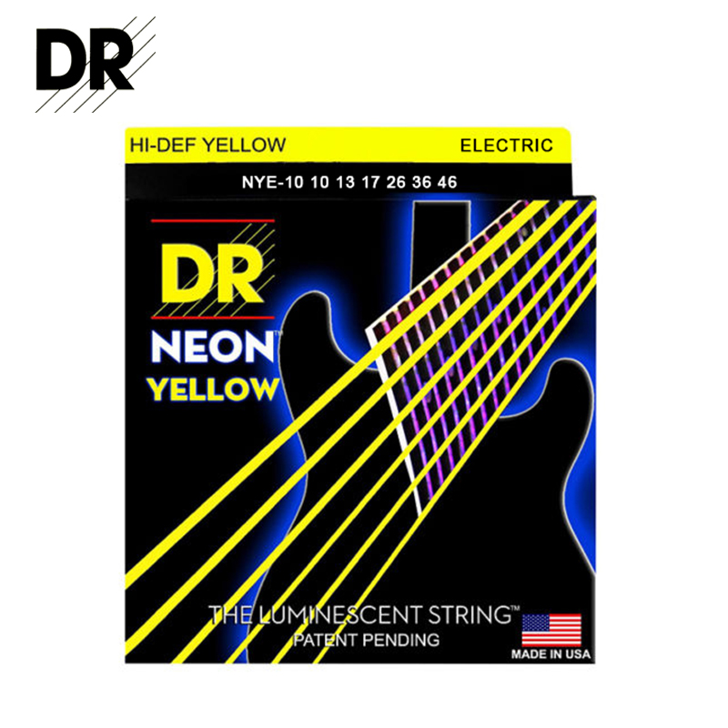 Original DR Strings Hi-DEF Yellow NEON NYE-10 Coated Lite Electric Guitar Strings-The luminescent String 10-46<br><br>Aliexpress