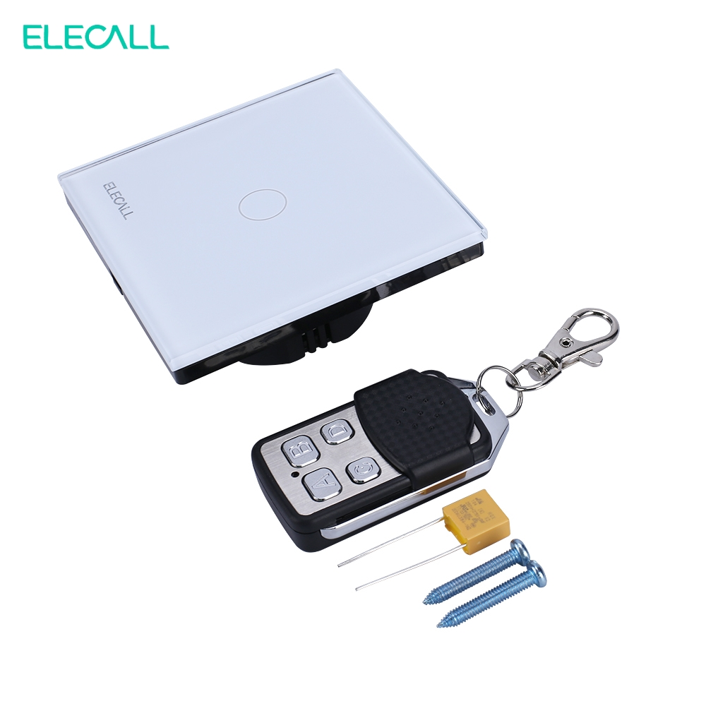 ELECALL EU Standard Smart Touch Switch Remote Control Wall Switch 1 Gang Wireless Light Switch  SK-A801-03EU<br>