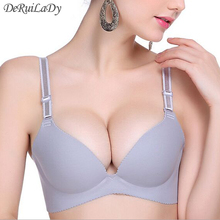 DeRuiLaDy Deep V Brand Women Large Cup Bras Sexy Underwear Adjustable Seamless Brassiere Cheap Lingerie Plus Size Push Up Bra