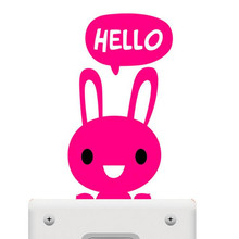 1pcs/lot Parlor Decoration Cute Hello Animals Switch Stickers Wall Sticker Home Decoration for kids Bed rooms Children like