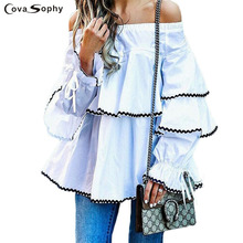 Covasophy Elegant Women Blouses 2017 Summer Butterfly Sleeve Slash Neck Off Shoulder Shirts Casual Ruffles Blouses Femininas Top