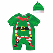 DLY127 Newborn boy girl clothes short sleeve cartoon printed baby coveralls Romper Bebek Giyim Christmas Related Carter Clothing
