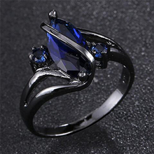 for women wedding Band luxury engagement jewelry Blue Cubic Zircon Ring Charming Women Fashion ring 5 Size