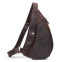 TIDING Crazy Horse Leather One Shoulder Pack Cross body Travel Bag For Men Women 3141