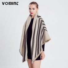 Vomint 2017 New Women Fashion Europe and America Style Elegant Gray Beige Oblique Stripes Tassel Silk Scarf Art Pashmina Female(China)