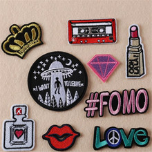 Hot sale embroidery flower patches for clothing lips/#fomo/ufo/love/tape logo sticker iron on patch for clothes free shipping