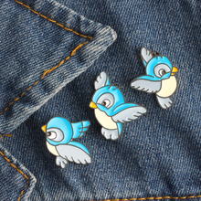 3 Pcs/set Simple Cartoon Cute Blue Bird Enamel Brooch Pins Hot Sale Clothes Badges Decoration Brooches For Women Men Jewelry(China)