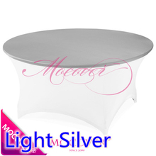Light Silver colour lycra top cover for round lycra tablecloth wedding banquet and party cocktail table decoration wholesale