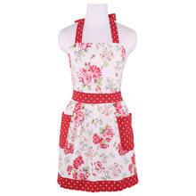 Neoviva Canvas Hostess Apron for Kitchen with Pocket, Style Diana, Floral Lollipop Red