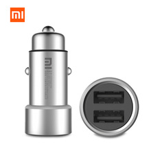 Original Xiaomi Mi Car Charger CZCDQ01ZM Dual USB 5V/3.6A Quick Charge Metal Apply to Android IOS System Mobile Phones Tablet