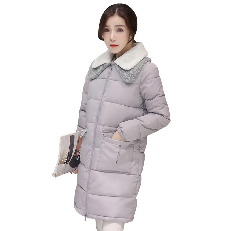 2016 winter Korean new lamb wool collar loose cotton jackets coats medium long plus size padded bread wadded jackets kp1017Îäåæäà è àêñåññóàðû<br><br>