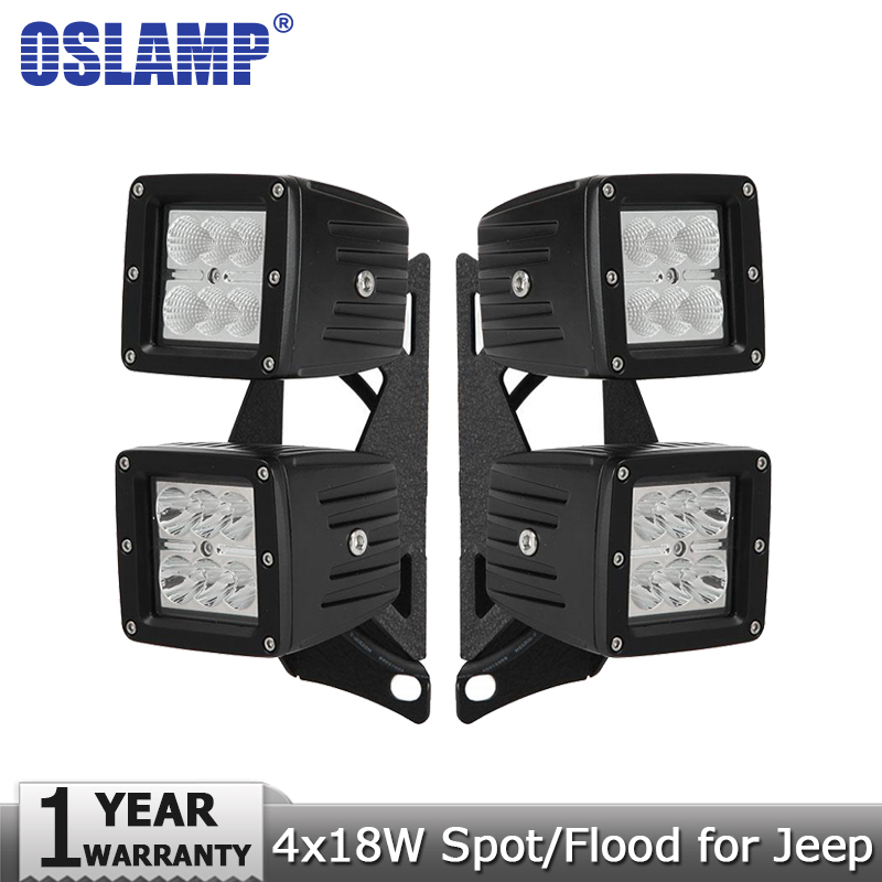 Oslamp 18W CREE Chips LED Work Light Spot Flood 12v 24v Led Driving Lamp Headlight+Mount Brackets for Jeep Wrangler JK 2007-2015<br><br>Aliexpress