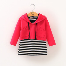 NYSRFZ 2017 baby spring&autumn Clothing Sets Baby Girl's Clothing Sets Kid Apparel set Striped Dress +jacket free shipping