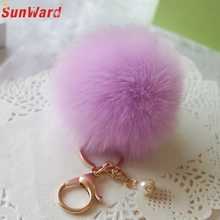 8cm Faux Rabbit Fur Ball Keychain Plush Car Key chain Handbag Key Ring Pendant Delicate 2017