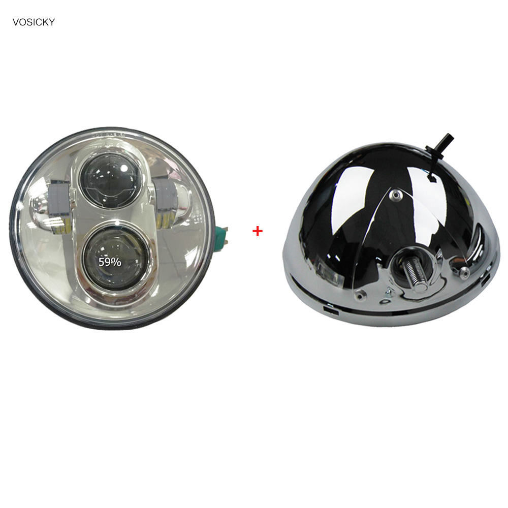 VOSICKY 5.75 inch headlight housing bucket With 5 3/4 led daymaker Hi/Lo Beam for Harley Davidson Fat Bob FXDF<br>