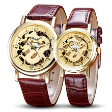 Chinese Dragon Skeleton Design Transparent Case Gold Watch Mens Watches Leather Strap Male Wrist Watch Lover's Watch