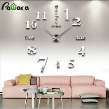 Modern DIY Wall Clock 3D Large Number Acrylic Mirror Surface Wall Sticker Clock Decorative Wall Clock Digital Clock 2017 New!(China)