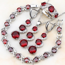 Square Red Garnet Jewelry Sets 925 Sterling Silver For Women Long Drop Earrings/Bracelet/Pendant/Ring/Necklace Free Gift Box