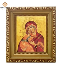 Factory outlets cheap wood photo frame lcon of Virgin Mary Panagia in Greek orthodox baptism byzantine style religious system
