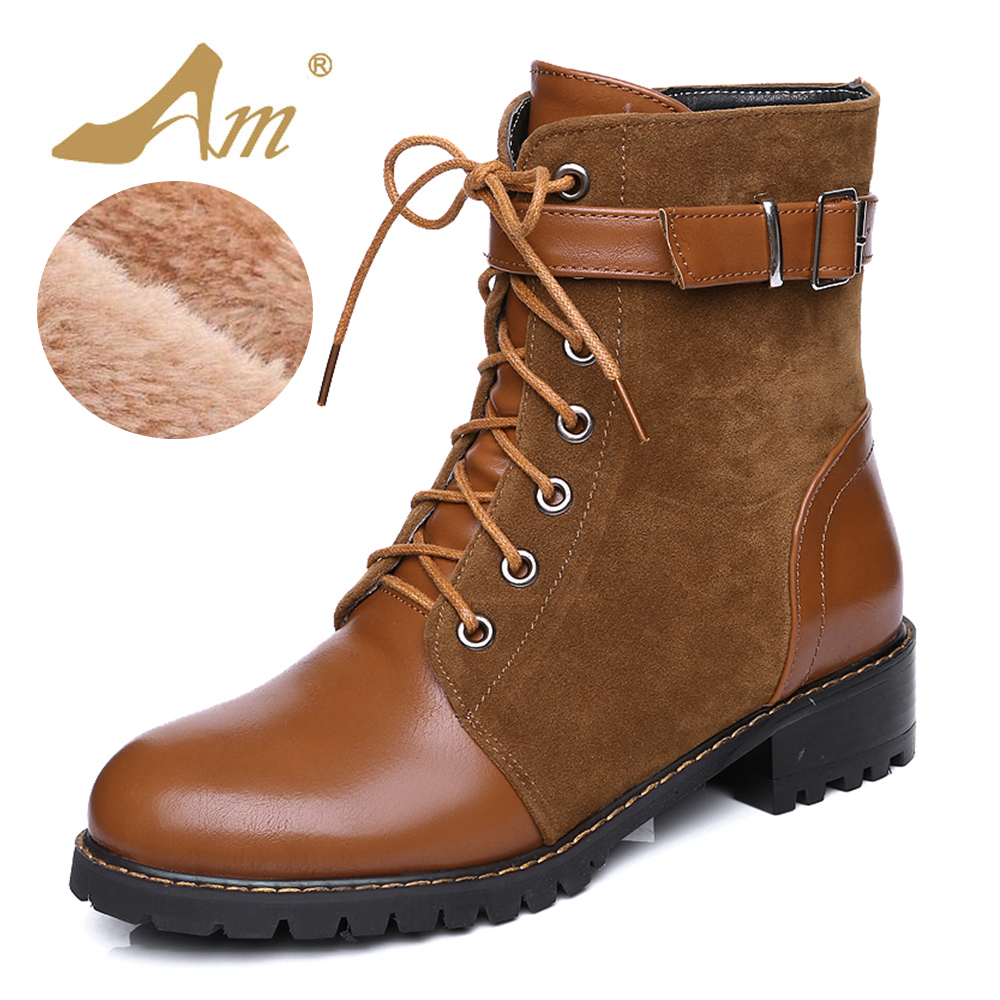 AME Plus Size 34-47 Winter Female Mid Calf Snow Boots with Fur Women Warm Cotton Fabric Shoes with Plush Square Heel Shoe<br>