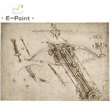 E-Point Da Vinci Manuscripts Oil Painting Print on Cotton Canvas Painting Abstract Christmas Decorations for Home YG904(China)