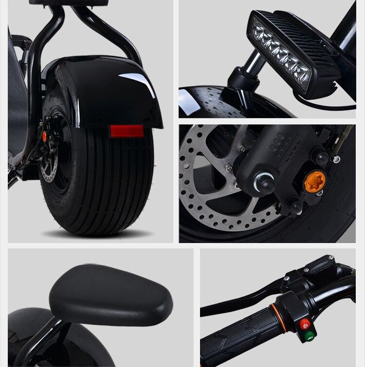 Электрический мотоцикл 60v12AH литиевых Батарея 1000 Вт двигателя взрослых Батарея велосипед каретки двухколесный скейтборд Электрический велосипед