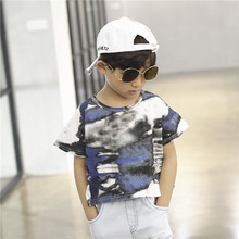 New 2017 Summer boy's Popular t shirt cotton short-sleeved t-shirt printing children's camouflage Graffiti boys child's clothes