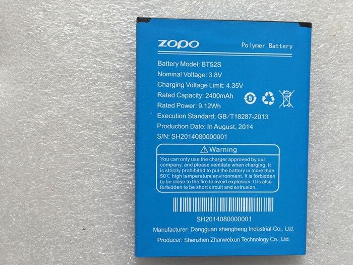 Original ZOPO ZP520 BT52S 2400mah Battery Li-ion replacement Zopo c5 battery ZOPO ZP520 Zopo ZP520+ Battery android phone