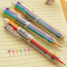 New Arrival Novelty Multicolor Ballpoint Pen Multifunction 6 In1 Colorful Stationery Creative School Supplies(China)
