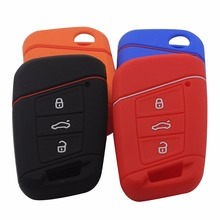 3 BTNS Silicone Car-Styling Key Fob Bag Cover Case For Volkswagen VW Magotan Passat B8 Skoda A7 Smart Remote Protector Keychain
