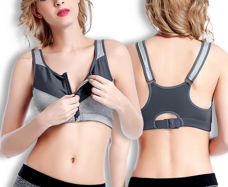 Sports Tops Female Zipper Push Up Sports Bras Fitness Running Yoga Padded Breathable Shockproof Gym Vest Tops Womens Sport Bh 2-750x750