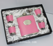 lady's Gift set  ,pink leather stainless steel hip flask set 6pcs ine one set, Your Name can be Free Engraved on the oval part