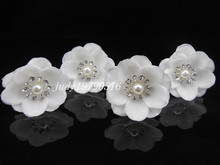 12Pcs White Pearl Flower Crystal Bridal Wedding Prom Hair Clip Hair Pins H94