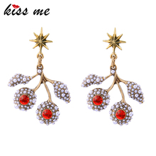 KISS ME 2 Colors Blue Red Crystal Simulated Pearls Branch Earrings Antique Gold Color Vintage Jewelry Women Gifts