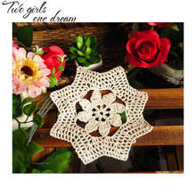 Handmade Crochet DIY Placemat Retro Hotel Dinner Decor Coaster Flower Clothes Accessory 18CM  Table Doily Wedding Gift 20pcs/lot
