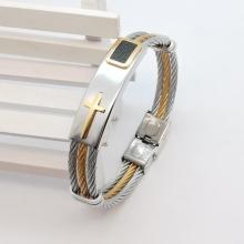 2017 New Gold Jesus Cross Bracelet Men Jewelry Stainless Steel Mens Rock Bracelets & Bangles Leather Pulseira Masculina