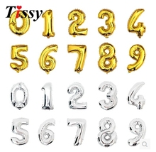 New Super Large 16inch Foil Gold and Silver Number Balloon Float air balls Wedding party decoration baloon Kids Inflatable Toy(China)