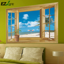 Window 3D Beach View Flowers Sea Wall Stickers art Mural Decal Wallpaper Living 3D Green Vew Flowers Plant Wall Stickers AS0047