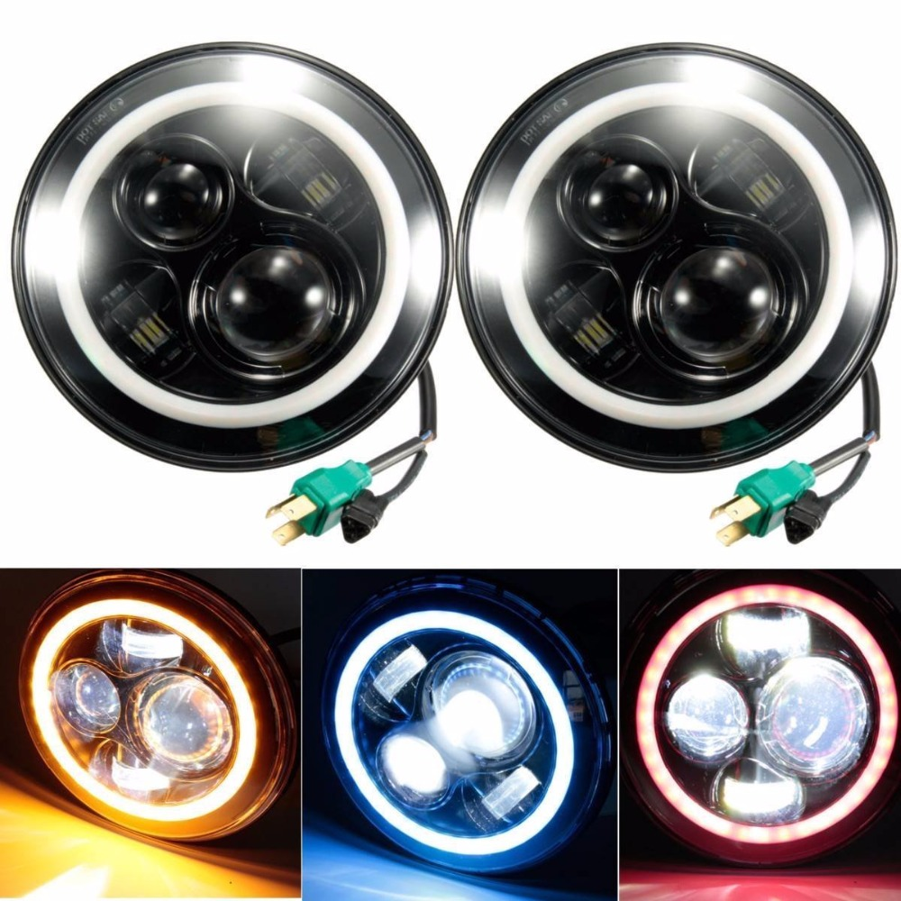 Pair 40W 7 INCH LED Headlight High-low Dual beam DRL H4 Head Lamp for Jeep CJ Wrangler JK Land Rover fog lights<br><br>Aliexpress