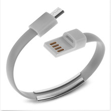 New Trendy Bracelet Wristband Micro USB Charger Cable Charging Sync Data Wire Cord Cell Phone 1pc Grey Hot Selling
