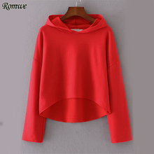 ROMWE Red Seam High Low Hoodie Women Drop Shoulder Casual Hooded Sweatshirt 2017 Fall Brief Plain Pullovers Long Sleeve Hoodies(China)