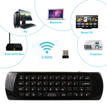2.4G Mini Wireless English Keyboard with Air Fly Mouse IR Remote Learning for PC Notebook Android TV Box Smart TV HTPC Black