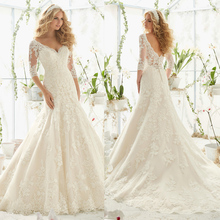 Vestidos De Novia 2016 Latest Designs Wedding Gowns V Neckline Long Sleeve Lace A Line Wedding Dress Bride Dresses WA3