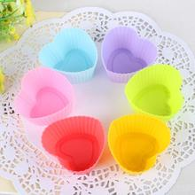 6pcs Mix colors Heart Shape Kitchen cake mold cups Silicone Cupcake Chocolate Kitchen Craft Baking liner case mould 3CM sale