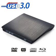 Bluray drive External USB 3.0 DVD Drive Blu-ray Play 3D movie 25G 50G BD-ROM CD/DVD RW Burner Writer for Windows 10 MAC OS linux