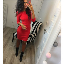2017 Women Sexy Autumn Bodycon Dresses Red Gray Casual Soild Color Long Sleeve Backless Dress(China)