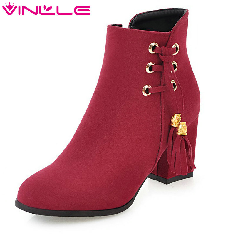 VINLLE 2018 Women Shoes Winter Ankle Boots Pointed Toe Zipper Square High Heel Black Ladies Motorcycle Shoes Size 34-43<br>