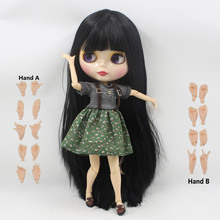 free shipping factory blyth doll 280BL9601 black straight long hair with bangs/fringes white skin joint body 1/6 toy gift(China)